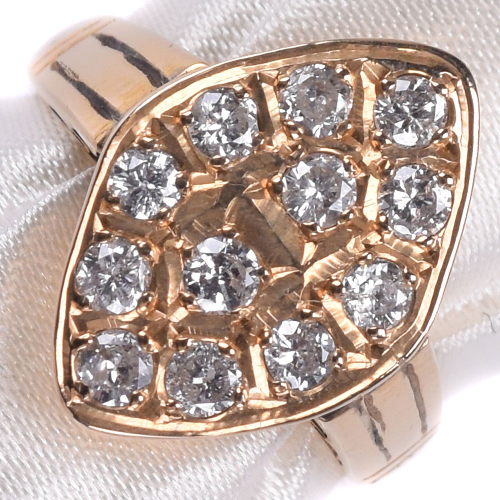 K20イエローゴールド×ダイヤモンド 15号 D1.20刻印 レディース リング・指輪【中古】SAランク