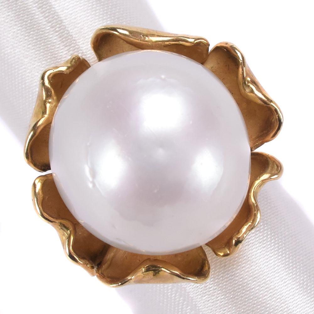 真珠 19mm K18イエローゴールド×パール 12.5号 レディース リング・指輪【中古】SAランク
