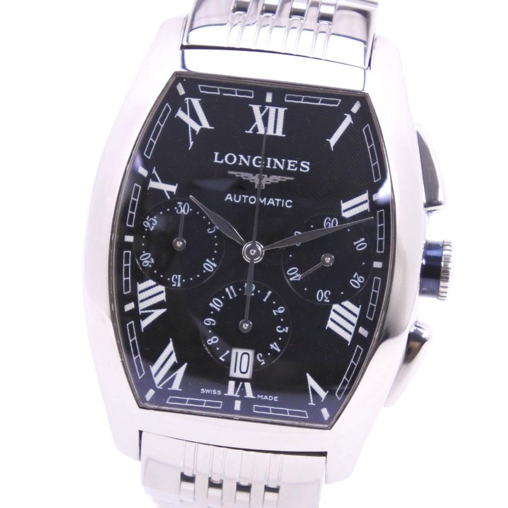 【LONGINES】ロンジン エヴィデンツァ クロノグラフ L2.643.4 ステンレススチール シルバー 自動巻き メンズ 黒文字盤 腕時計【中古】Aランク