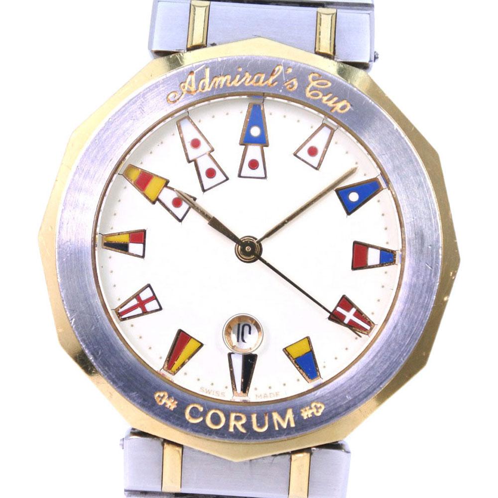 【CORUM】コルム アドミラルズカップ 99.810.21V52B ステンレススチール ゴールド クオーツ メンズ クリーム文字盤 腕時計【中古】