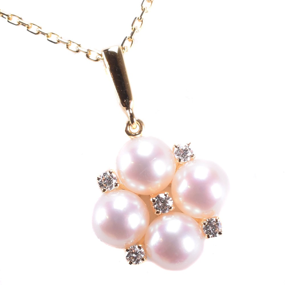 【MIKIMOTO】ミキモト 真珠 パール×ダイヤモンド レディース ネックレス【中古】SAランク