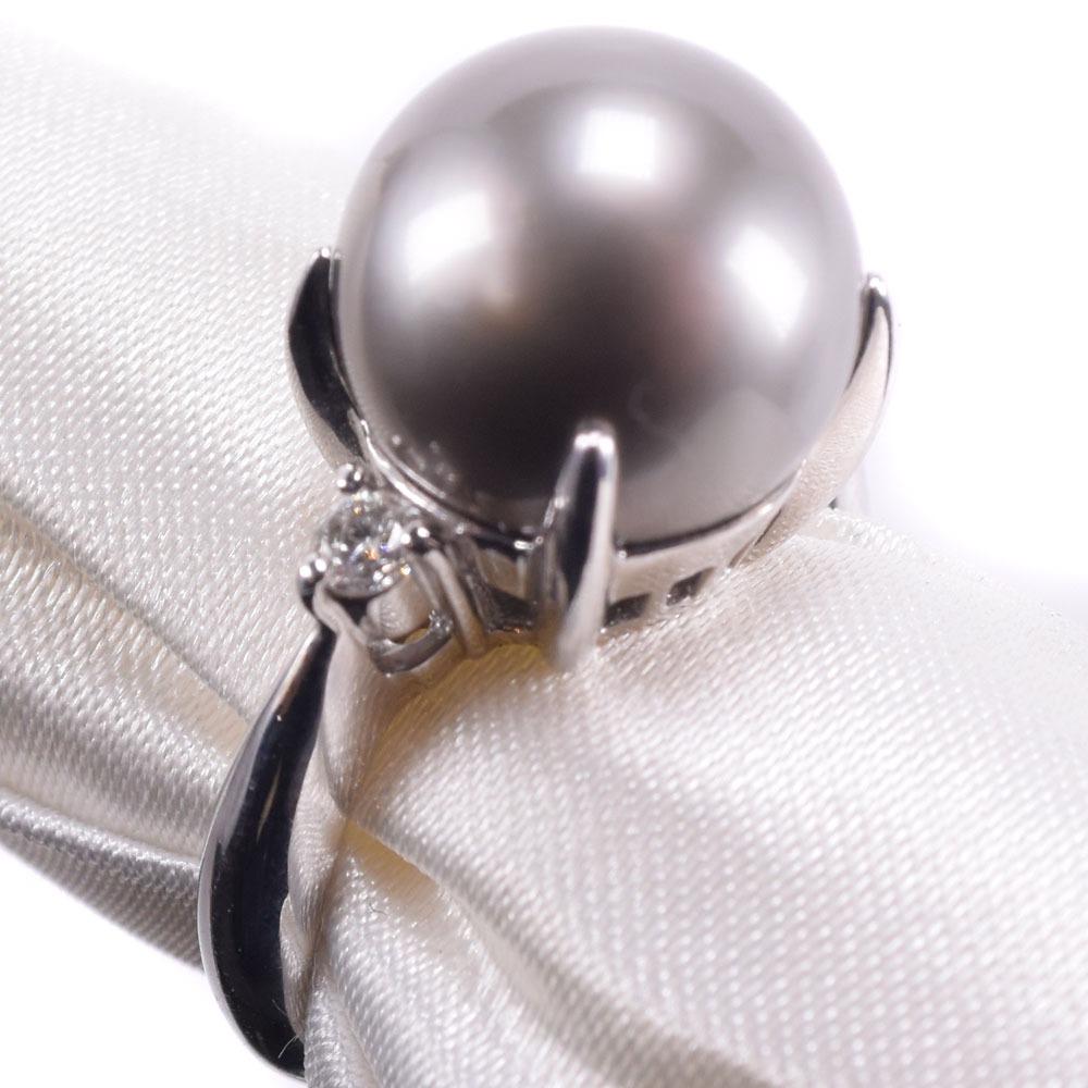 11.5mm ダイヤモンド ブラックパール(黒蝶真珠)×Pt900プラチナ 11.5号 レディース リング・指輪【中古】SAランク