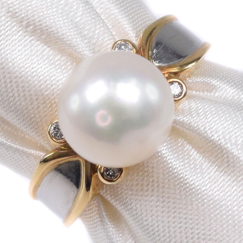 真珠 K18イエローゴールド×Pt900プラチナ×パール 10号 レディース リング・指輪【中古】SAランク