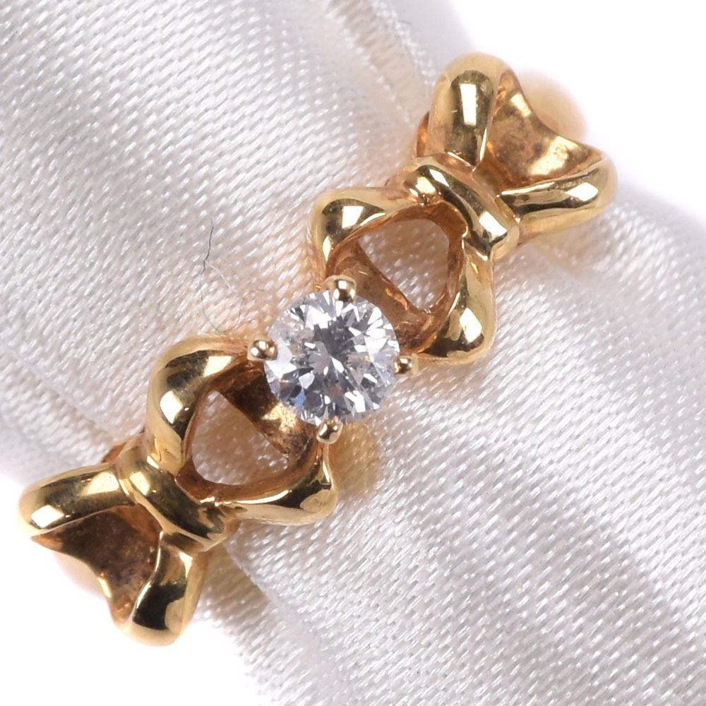 K18イエローゴールド×ダイヤモンド 10号 D0.12刻印 レディース リング・指輪【中古】SAランク