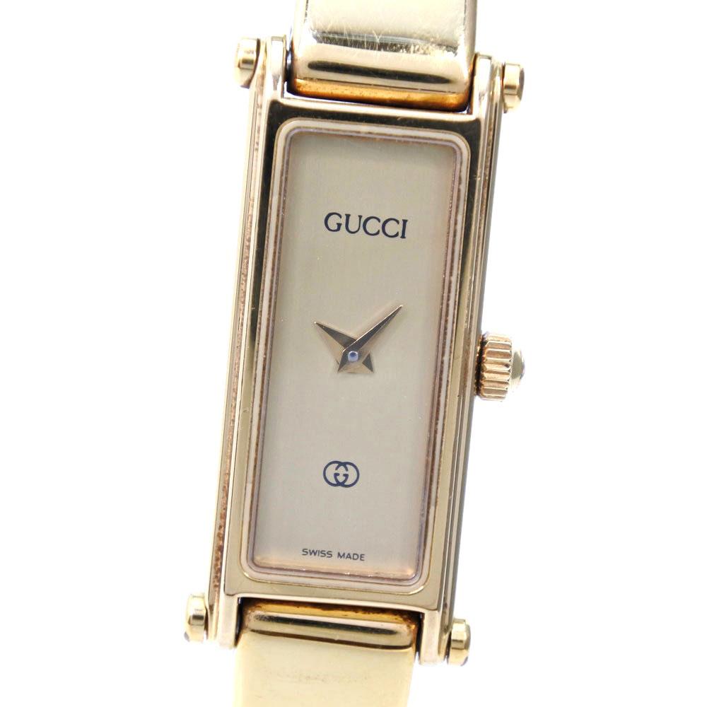 【GUCCI】グッチ 1500 ステンレススチール クオーツ レディース ゴールド文字盤 腕時計【中古】