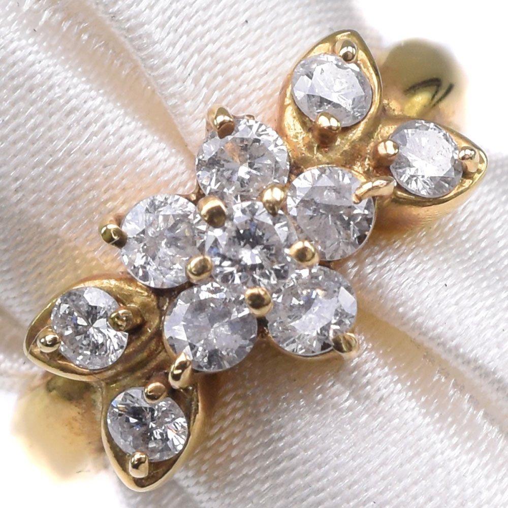 K18イエローゴールド×ダイヤモンド 3号 レディース リング・指輪【中古】SAランク