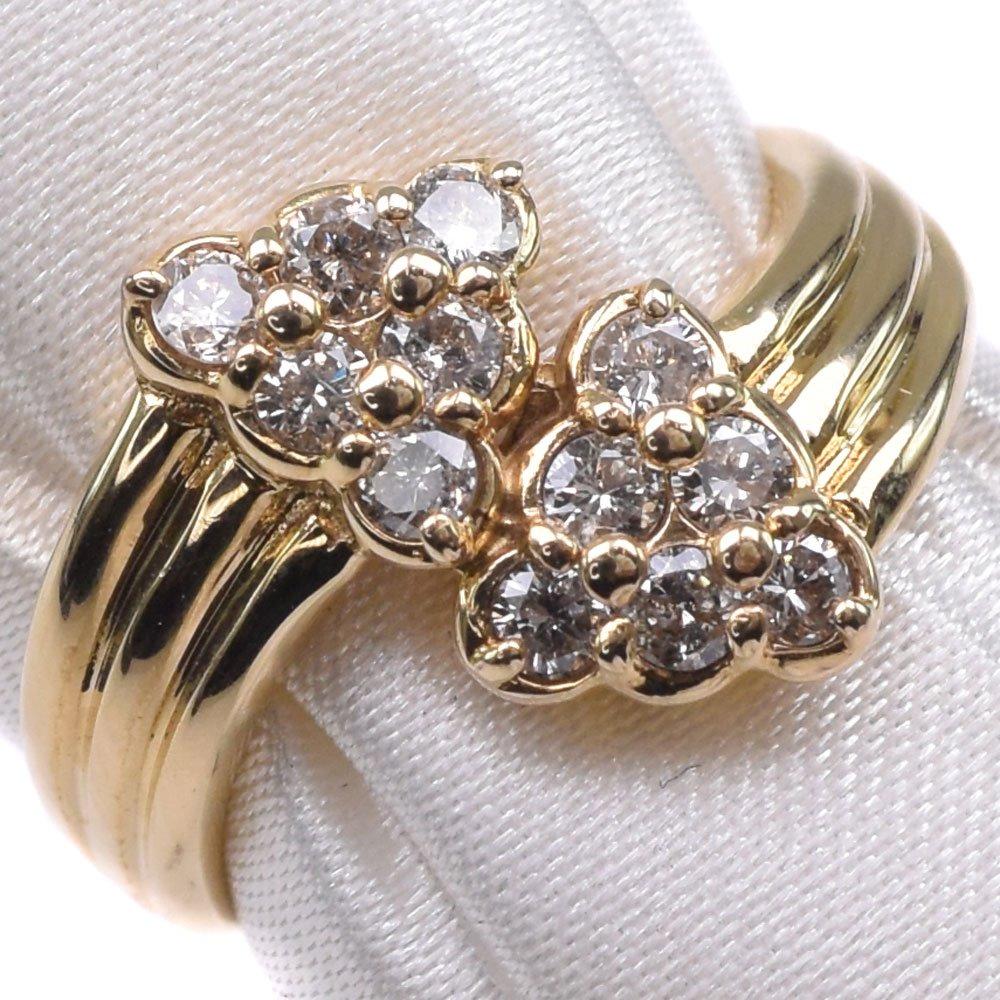K18イエローゴールド×ダイヤモンド 13号 D0.50刻印 レディース リング・指輪【中古】SAランク