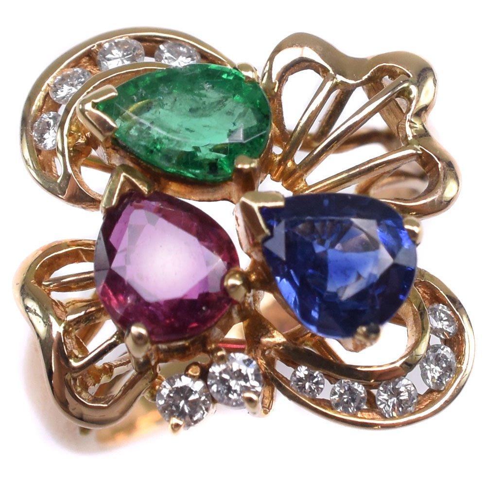 ルビー ダイヤモンド K18イエローゴールド×エメラルド×サファイア 10号 リング・指輪【中古】SAランク