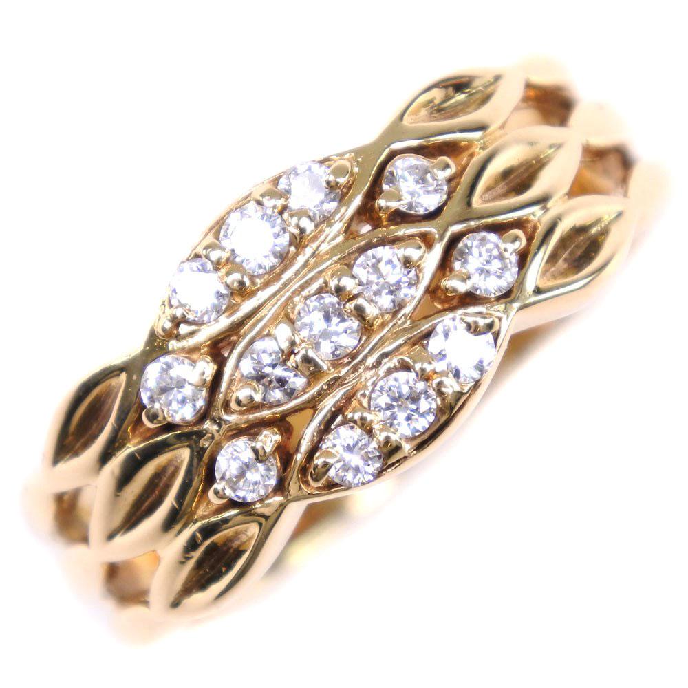 【POLA】ポーラ K18イエローゴールド×ダイヤモンド 13号 D0.26 0.031刻印 レディース リング・指輪【中古】A-ランク