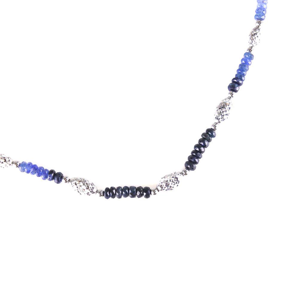 K18ホワイトゴールド ブルー ユニセックス ネックレス【中古】Aランク