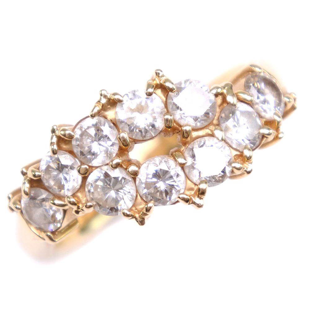 K18イエローゴールド×ダイヤモンド 10号 レディース リング・指輪【中古】SAランク