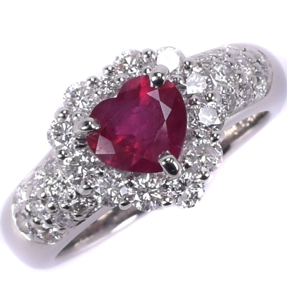 Pt900プラチナ×ルビー×ダイヤモンド 14.5号 R1.05/D1.00刻印 レディース リング・指輪【中古】SAランク