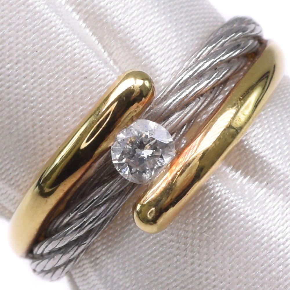 K18イエローゴールド×Pt900プラチナ×ダイヤモンド 14号 D0.16刻印 レディース リング・指輪【中古】SAランク