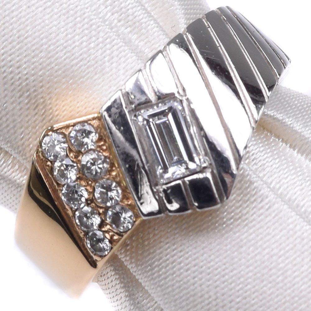 K18イエローゴールド×Ptプラチナ×ダイヤモンド 12号 レディース リング・指輪【中古】SAランク