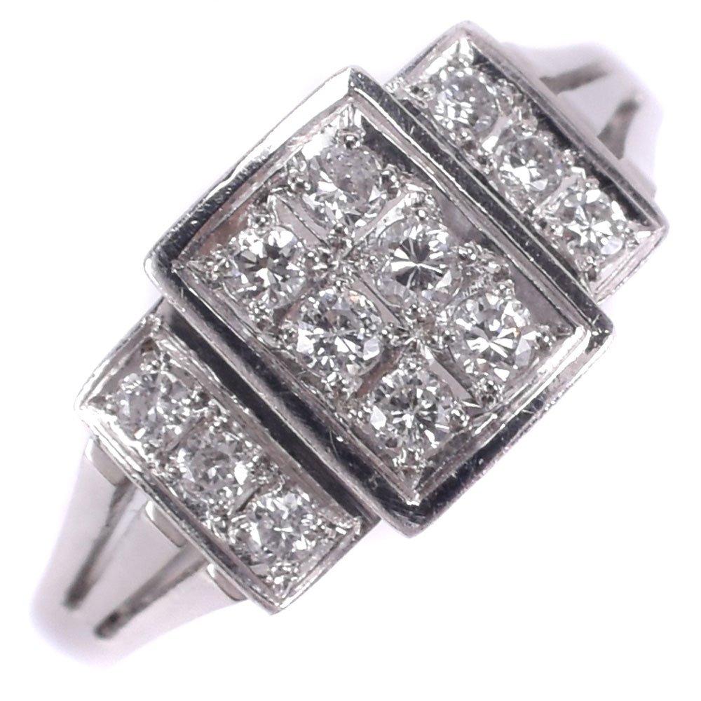 Pt900プラチナ×ダイヤモンド 13号 D0.23刻印 レディース リング・指輪【中古】SAランク