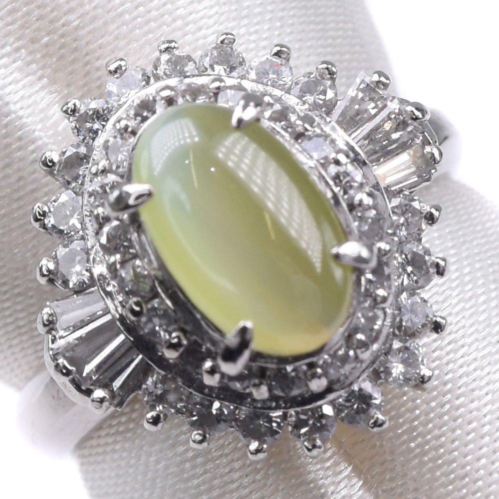 Pt900プラチナ×ダイヤモンド×キャッツアイ 10.5号 C0.78 D0.52刻印 レディース リング・指輪【中古】SAランク