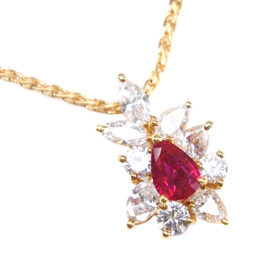 【Southern Cross】サザンクロス K18イエローゴールド×ルビー×ダイヤモンド R1.00 D2.00刻印 レディース ネックレス【中古】A+ランク