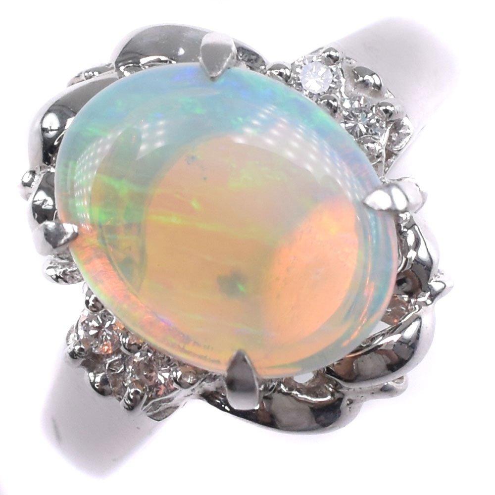 Pt900プラチナ×オパール×ダイヤモンド 11号 O1.49 D0.055刻印 レディース リング・指輪【中古】SAランク