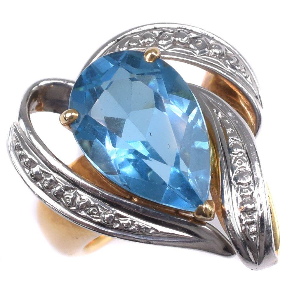 K18ホワイトゴールド×ブルートパーズ×ダイヤモンド 12号 BT3.8刻印 レディース リング・指輪【中古】SAランク