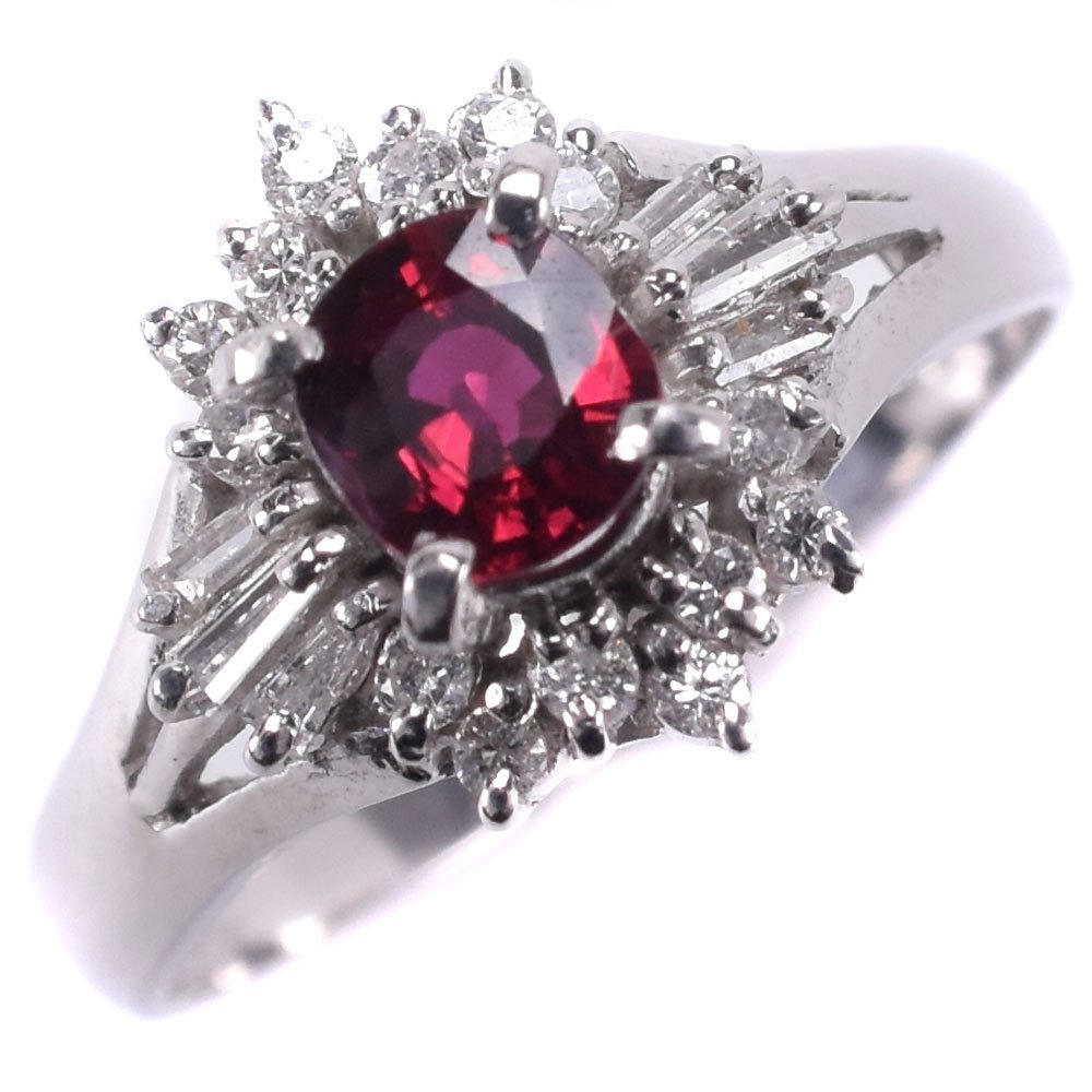 Pt900プラチナ×ルビー×ダイヤモンド 11号 R0.35 D0.18刻印 レディース リング・指輪【中古】SAランク