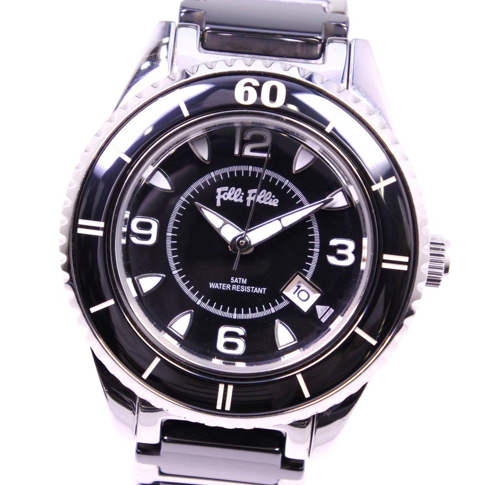 【Folli Follie】フォリフォリ WF4T0015BD ステンレススチール×セラミック ブラック クオーツ レディース 黒文字盤 腕時計【中古】A-ランク