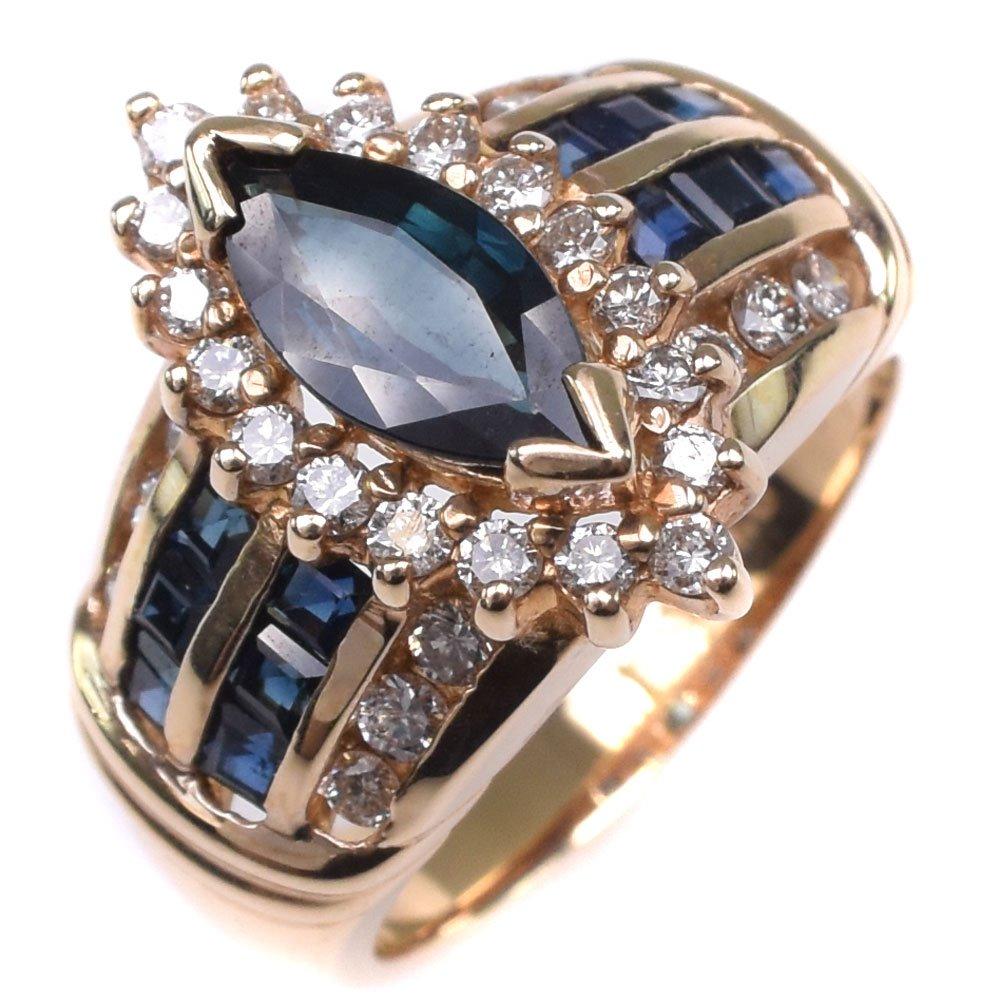 K14イエローゴールド×サファイア×ダイヤモンド 15号 レディース リング・指輪【中古】SAランク