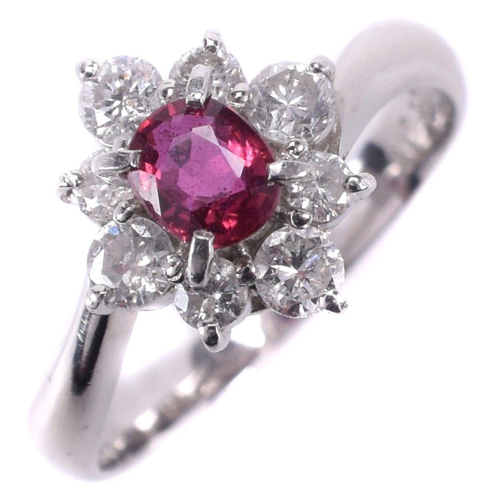Pt900プラチナ×ルビー×ダイヤモンド 12号 R0.38 D0.48刻印 レディース リング・指輪【中古】SAランク