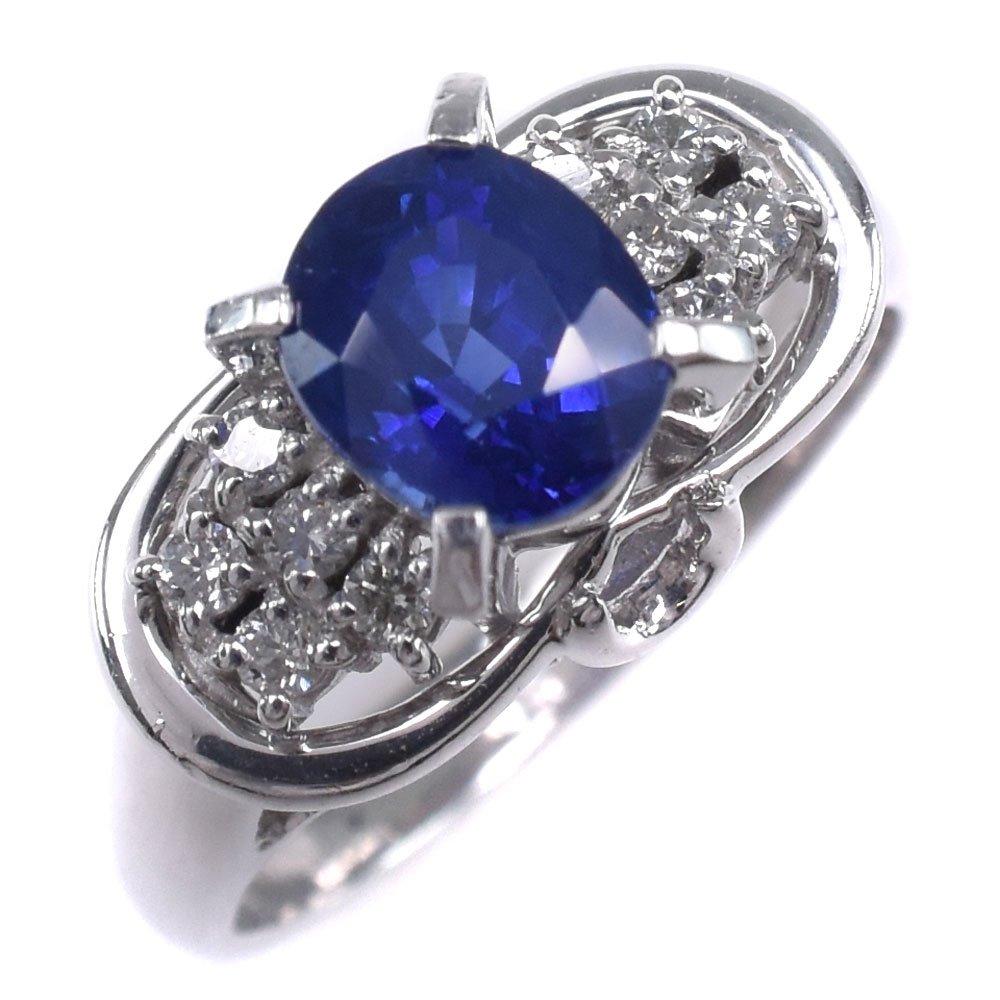 Pt900プラチナ×サファイア×ダイヤモンド 12号 S1.34 D0.15刻印 レディース リング・指輪【中古】SAランク