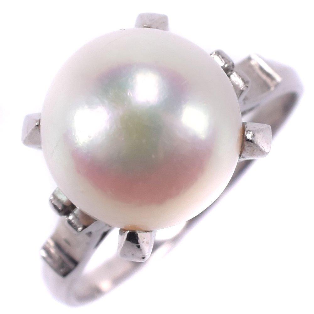 真珠 Ptプラチナ×パール 10号 レディース リング・指輪【中古】SAランク