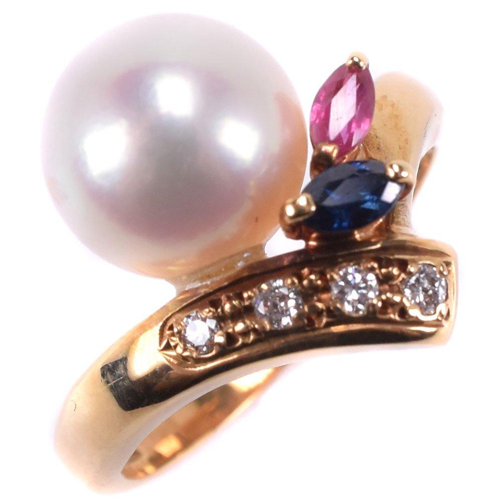真珠 サファイア/ルビー K18イエローゴールド×パール×ダイヤモンド 9号 D0.05刻印 レディース リング・指輪【中古】SAランク