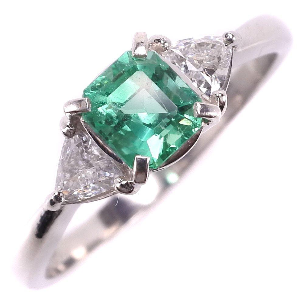 Pt900プラチナ×エメラルド×ダイヤモンド 21.5号 0.77 0.346刻印 レディース リング・指輪【中古】SAランク