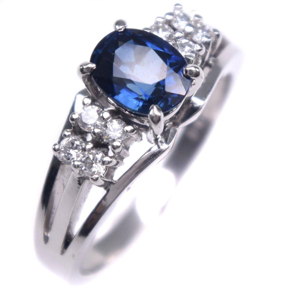 Pt950プラチナ×サファイア×ダイヤモンド 10.5号 S1.01 D0.15刻印 レディース リング・指輪【中古】SAランク