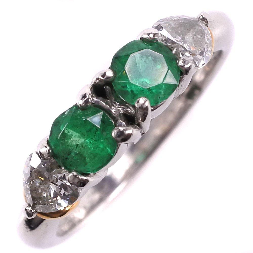 ダイヤモンド Pt900プラチナ×K18イエローゴールド×エメラルド 8号 E0.40 D0.34刻印 レディース リング・指輪【中古】SAランク