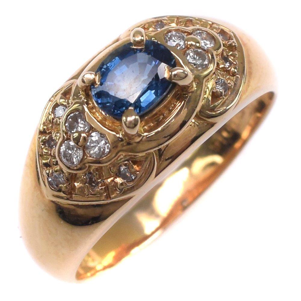 K18イエローゴールド×サファイア×ダイヤモンド 12号 S0.55 D0.15刻印 レディース リング・指輪【中古】SAランク
