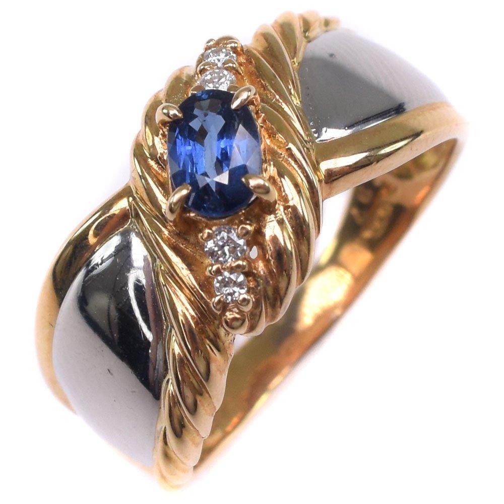 ダイヤモンド K18イエローゴールド×Pt900プラチナ×サファイア 16号 S0.37 D0.05刻印 レディース リング・指輪【中古】SAランク