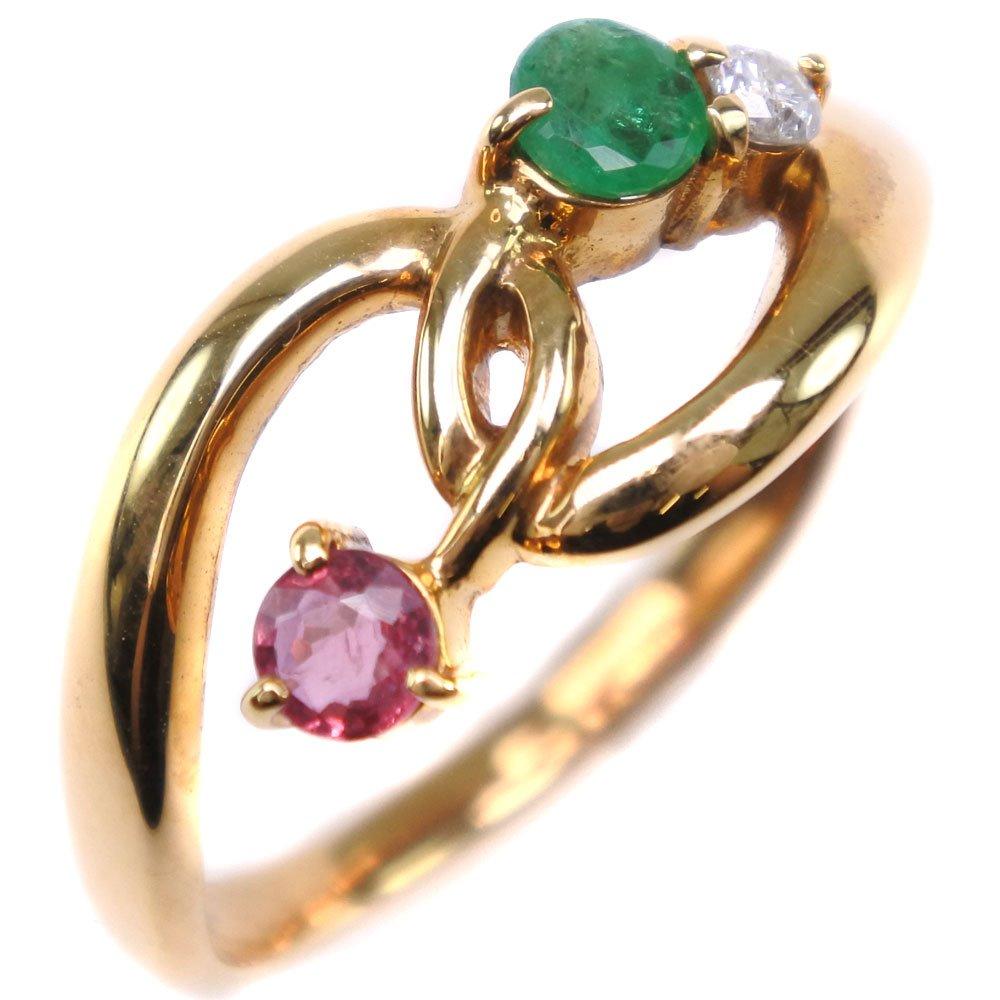 ダイヤモンド K18イエローゴールド×エメラルド×ルビー 12号 レディース リング・指輪【中古】SAランク