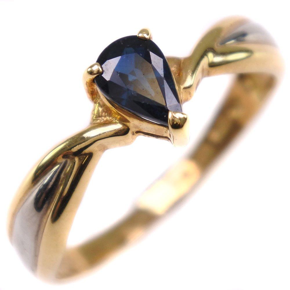 K18イエローゴールド×サファイア×ダイアモンド 12号 0.54刻印 レディース リング・指輪【中古】SAランク
