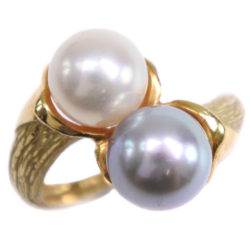 真珠 K18イエローゴールド×真珠 9.5号 0.27刻印 レディース リング・指輪【中古】A-ランク