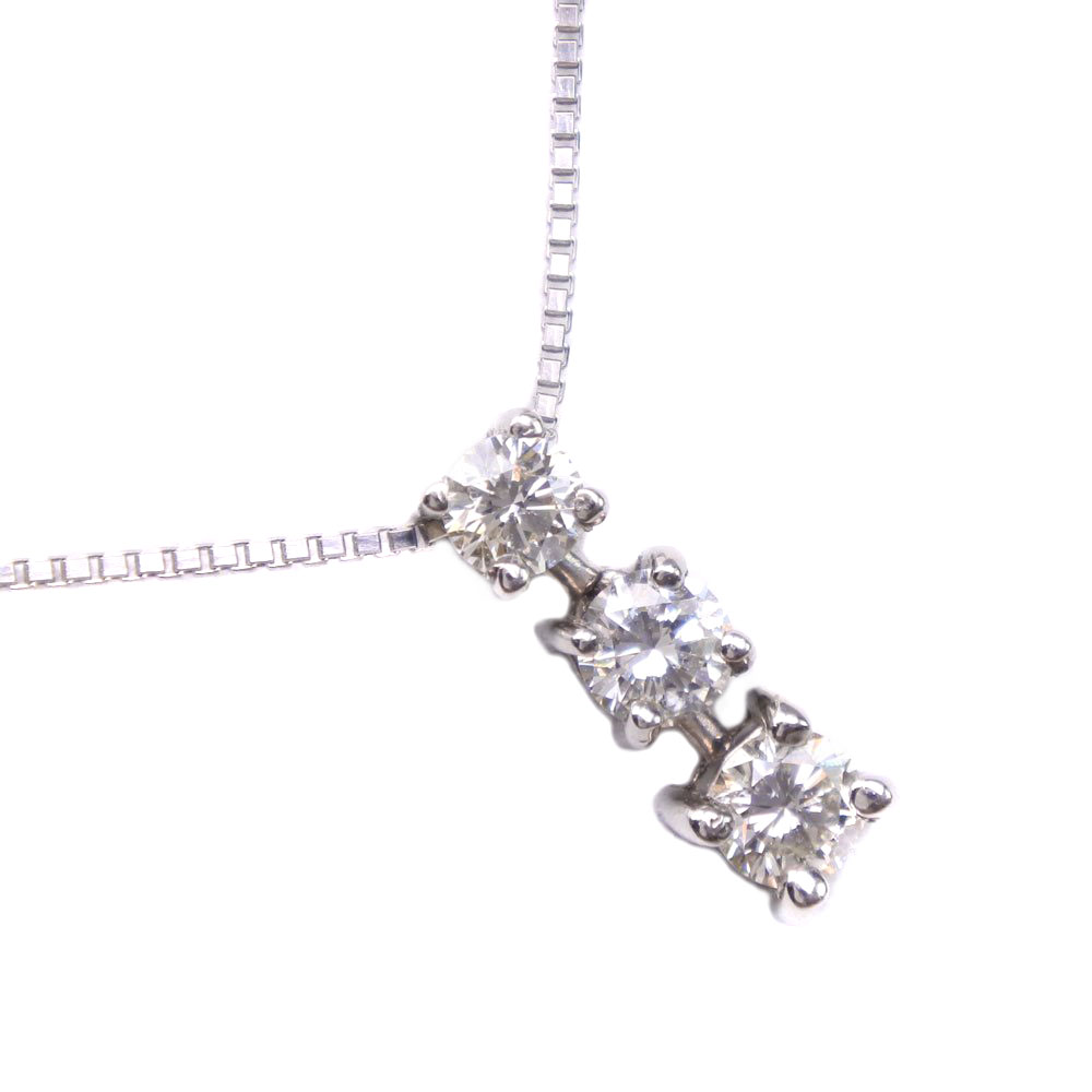ダイヤモンド 3Pダイヤ Pt900プラチナ×Pt850プラチナ 0.50刻印 レディース ネックレス【中古】A+ランク
