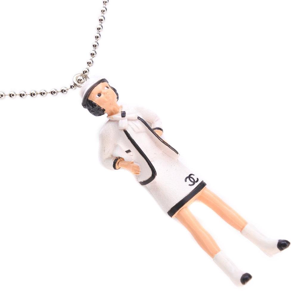 【CHANEL】シャネル ノベルティ ペンダント ココシャネル 非売品 ホワイト レディース ネックレス【中古】Sランク
