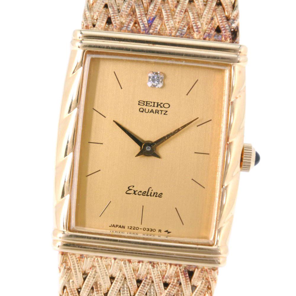 【SEIKO】セイコー エクセリーヌ 1220-5160 ステンレススチール クオーツ レディース ゴールド文字盤 腕時計【中古】