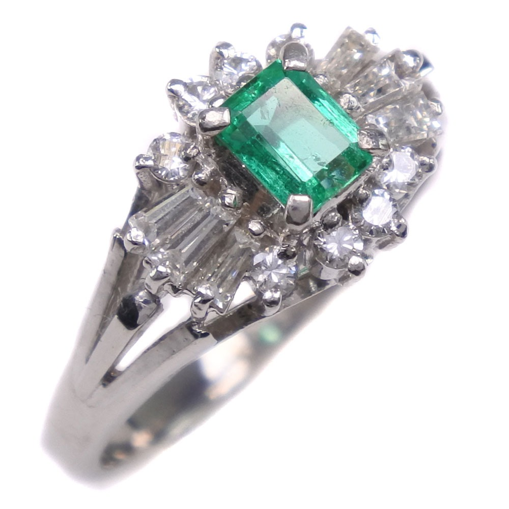Pt900プラチナ×エメラルド×ダイヤモンド 10号 E0.40 D0.42刻印 レディース リング・指輪【中古】Aランク