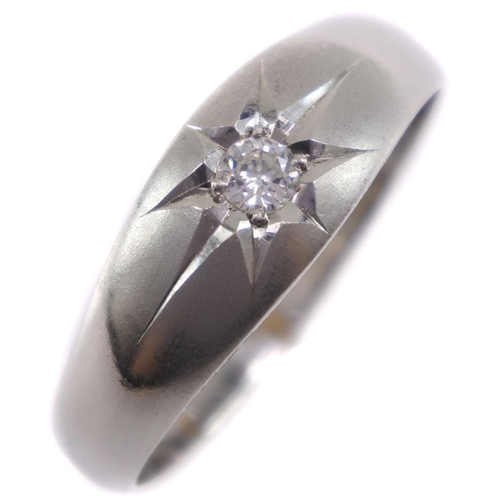 Ptプラチナ×ダイヤモンド 17.5号 D0.10刻印 レディース リング・指輪【中古】Aランク