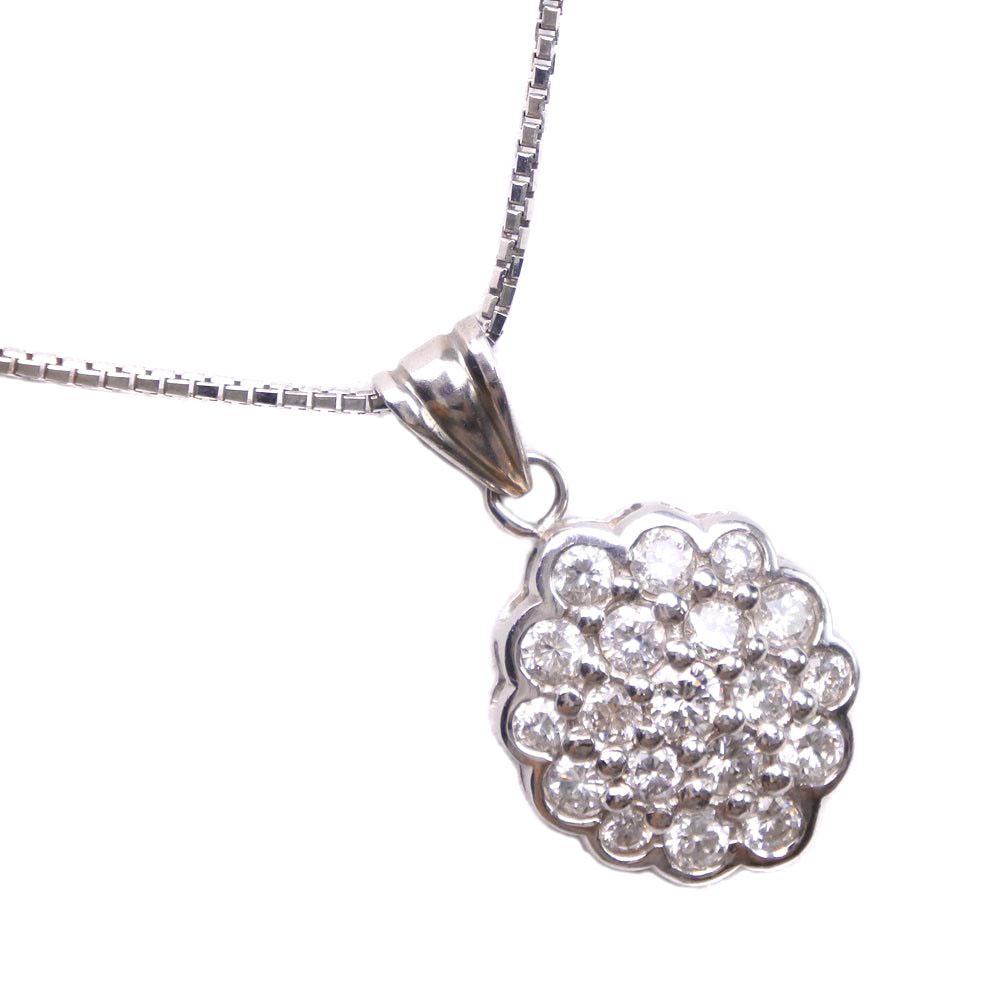 Pt900プラチナ×Pt850プラチナ×ダイヤモンド 1.00刻印 レディース ネックレス【中古】Aランク