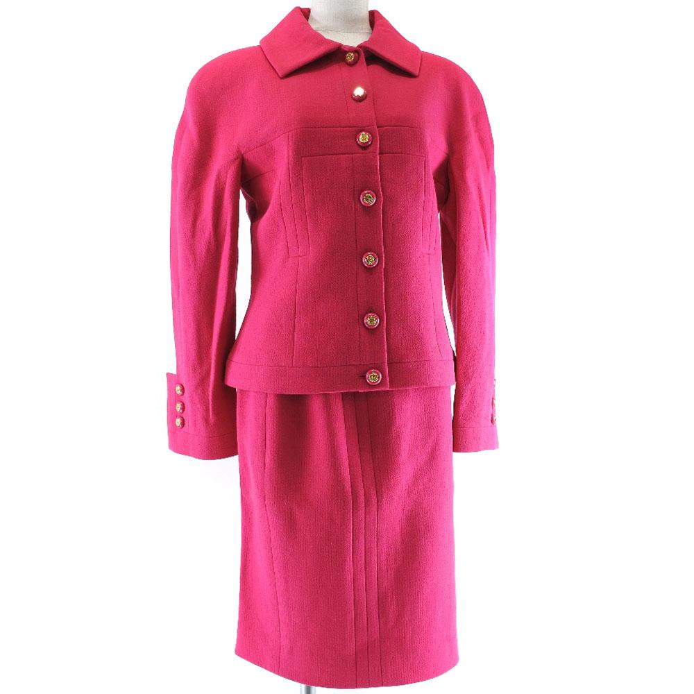 【CHANEL】シャネル スカートスーツ P21598W03189 ウール×シルク ピンク レディース セットアップ【中古】