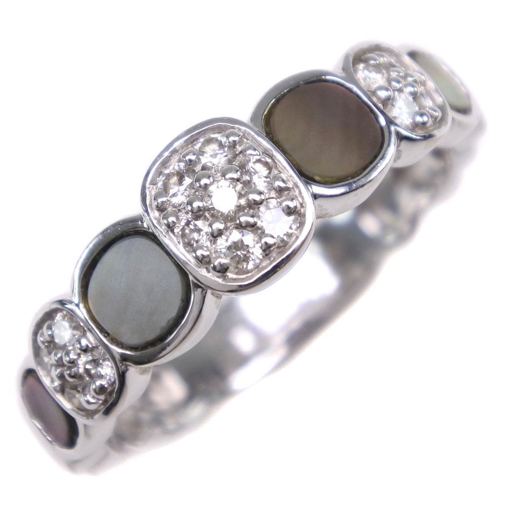【Mathon】マットン K18ホワイトゴールド×シェル×ダイヤモンド 16.5号 レディース リング・指輪【中古】SAランク