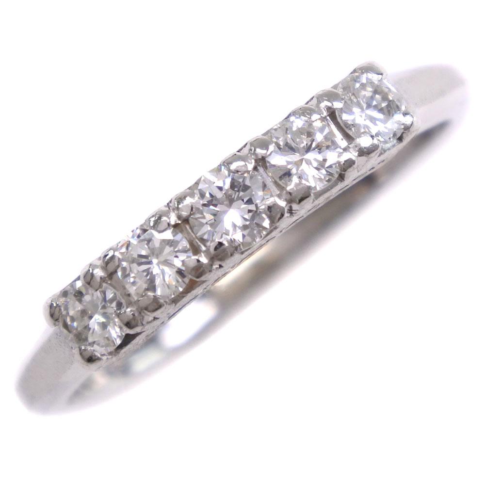 一文字 Ptプラチナ×ダイヤモンド 12.5号 D0.36刻印 レディース リング・指輪【中古】SAランク