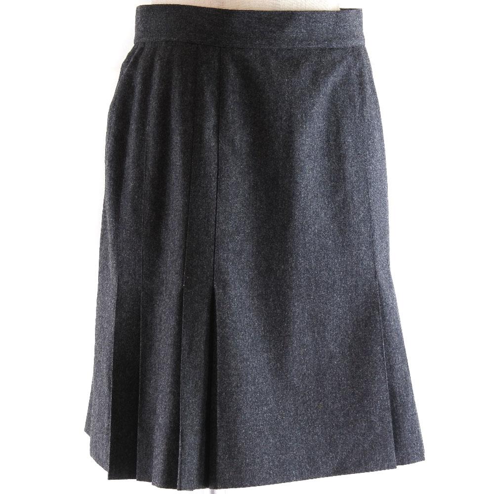 【CHANEL】シャネル P03474/V03532 ウール×シルク グレー レディース スカート【中古】Aランク