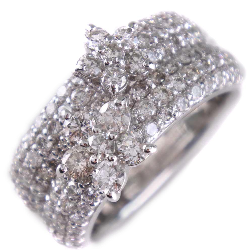 【Ponte Vecchio】ポンテヴェキオ K18ホワイトゴールド×ダイヤモンド 7.5号 1.45刻印 レディース リング・指輪【中古】SAランク