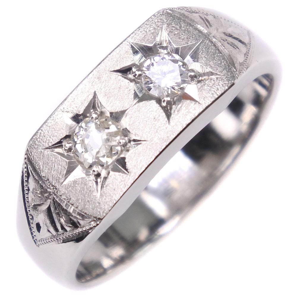 印台 Pt900プラチナ×ダイヤモンド 17.5号 D0.26刻印 レディース リング・指輪【中古】SAランク
